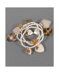 Jessica Simpson | Multicolor Set Of Three Heart Charm Bracelets | Lyst
