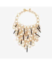 Kara Ross | Metallic Circular Gold Chain Link Bib Necklace with Resin Daggers | Lyst