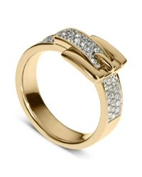 Michael Kors | Metallic Gold Tone Pave Crystal Buckle Ring | Lyst