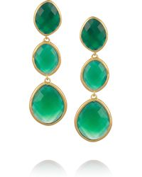 Monica Vinader - Green Nugget 18karat Goldvermeil Onyx Drop Earrings - Lyst