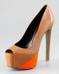 Ruthie Davis | Brown Hamel Leather Neon Platform Pump | Lyst