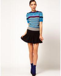 Sonia by Sonia Rykiel | Blue Short Sleeve Fairisle Knit | Lyst