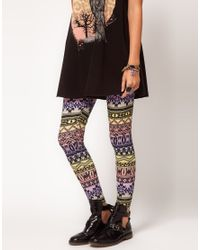 ASOS Collection | Multicolor Leggings in Ombre Aztec Print | Lyst