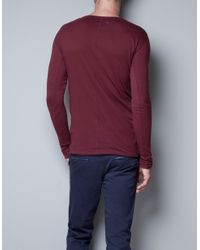 Zara   Purple Pima Cotton T-shirt for Men   Lyst