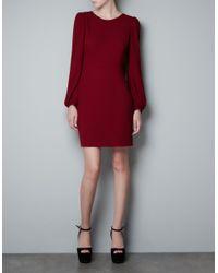 Zara | Red Puff Sleeve Dress | Lyst
