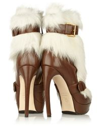 Alexander McQueen - White Shearling and Leather Ankle Boots - Lyst