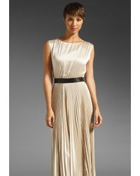 Alice + Olivia | Beige Maxi Dress Triss Pleated with Leather Belt | Lyst