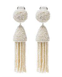 Oscar de la Renta | White Short Tassel Earring | Lyst