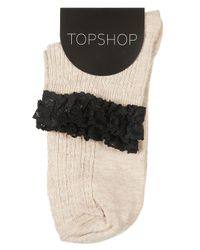 TOPSHOP - Natural Lace Trim Ankle Socks - Lyst