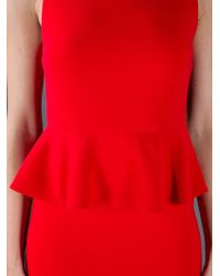 Alice + Olivia - Red Peplum Dress - Lyst