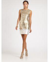 Oscar de la Renta | Gold Sequined Silk Dress | Lyst