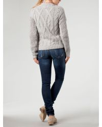 Tommy Hilfiger   Gray Long Sleeve Cable Knit Jumper with Crew Neck Aw   Lyst