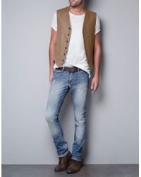 Zara   Beige Camel Herringbone Waistcoat for Men   Lyst