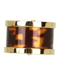 Michael Kors - Brown Heritage Barrel Ring - Lyst