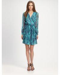 Shoshanna - Black Snakeskin Print Wrap Dress - Lyst
