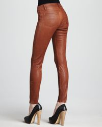 J Brand | Brown Leather Super Skinny Pants | Lyst