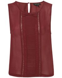 Topshop | Red Pleat and Bow Shell Top | Lyst