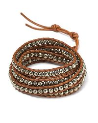 Chan Luu - Brown Five Wrap Pyrite Stone and Leather Bracelet - Lyst