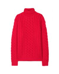 Christopher Kane | Red Cableknit Turtleneck Sweater | Lyst