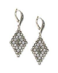 Judith Jack - Metallic Sterling Silver Marcasite  Accent Drop Earrings - Lyst
