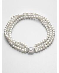 Majorica - Multirow 8mm White Round Pearl Necklace - Lyst