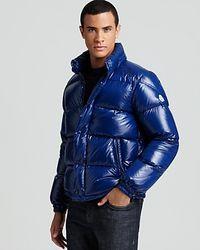 Moncler - Blue Shiny Ever Bomber Jacket for Men - Lyst