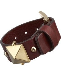 Fallon - Brown Pyramid Stud Leather Cuff - Lyst