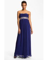 JS Boutique | Blue Embellished Waist Plissé Gown | Lyst