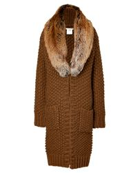 Michael Kors | Brown Saddle Textured Knit Coat with Removable Fox Collar | Lyst