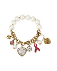 Betsey Johnson - Metallic 'Im A Survivor' Breast Cancer Multicharm Halfstretch Bracelet - Lyst