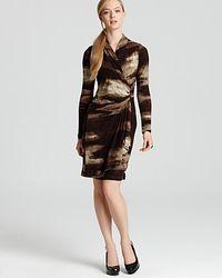 Karen Kane - Brown Long Sleeve Wrap Dress - Lyst