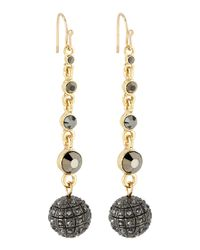 R.j. Graziano | Black Hematite Rhinestone Pave Fireball Earrings | Lyst