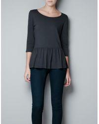 Zara | Gray Casual Peplum Tshirt | Lyst