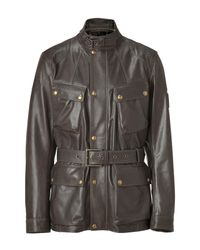 Belstaff | Brown Peat Leather Preston Luxe Trialmaster Jacket for Men | Lyst