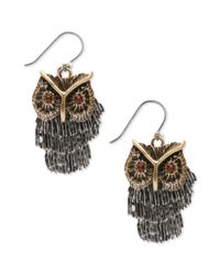 Lucky Brand | Metallic Silver and Gold Tone Shaky Owl Earrings | Lyst