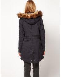 Hilfiger Denim | Black Parka with Detachable Hood and Faux Fur | Lyst