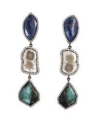 Monique Péan - Green Blue Sapphire Emerald Diamond Threetier Earrings - Lyst