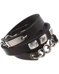 Werkstatt:münchen - Black Silver Leather Bracelet Wound Wild for Men - Lyst