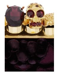 Alexander McQueen | Purple Knuckle Embellished Brocade Box Clutch | Lyst