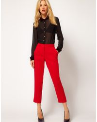 ASOS Collection | Red Crepe Cropped Trousers | Lyst