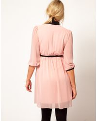 ASOS Pink Skater Dress with Pussy Bow Tie