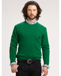 66b7be12526be Lyst - Polo Ralph Lauren Jersey Crewneck Sweater in Green for Men