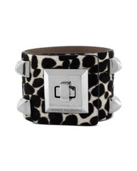 Vince Camuto | Metallic Snow Leopard Printed Studded Cuff Bracelet | Lyst