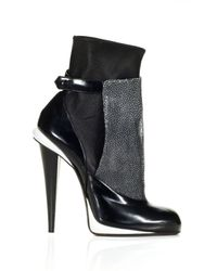 Fendi   Gray Fw Victorian Stretch Bootie with Shagreen Apron   Lyst