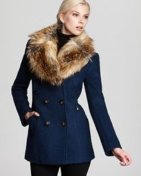 Laundry by Shelli Segal | Blue Double Breasted Wool Coat with Faux Fur Collar | Lyst