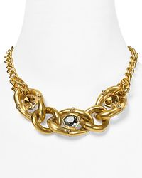 T Tahari | Metallic On The Edge Gold Chain Link Multi-stone Necklace, 17"