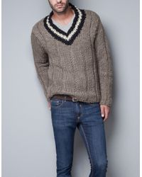 Zara | Beige Chunky Sweater for Men | Lyst