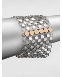 John Hardy | Metallic Sterling Silver 18k Gold Wide Dot Bracelet | Lyst