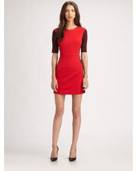 Tibi | Red Ponte Colorblock Dress | Lyst