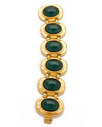 Kenneth Jay Lane - Green Flawed Emerald Cabochon Bracelet - Lyst